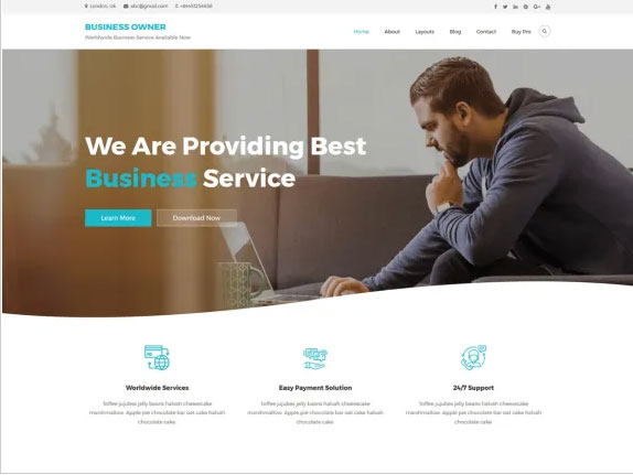 Business Owner is is a child theme of Owner Multipurpose theme