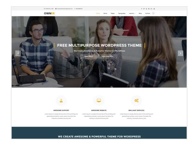 Owner is a powerful Free WordPress Theme
