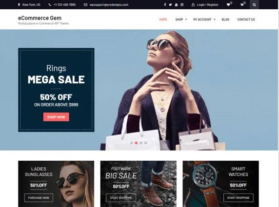 Free WordPress themes eCommerce Gem