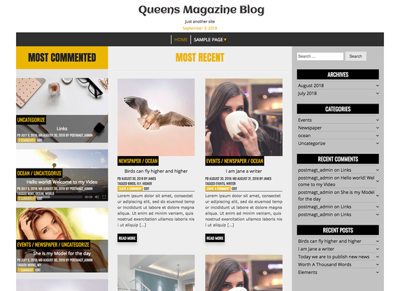 Queens Magazine Blog a WordPress Free Theme