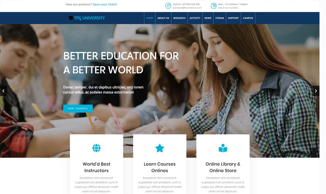 TPG University WordPress theme